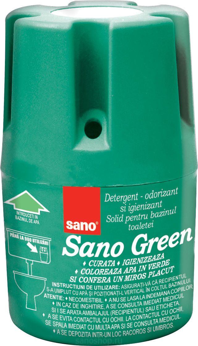 Средство в контейнере для унитаза Sano Green Flash, 150 г